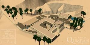 Vista aérea de Qumran. Em Virtual Qumran