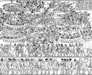 Batalha naval dos egípcios contra os povos do mar em imagem de Medinet Habu