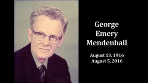 George Emery Mendenhall: August 13, 1916 - August 5, 2016