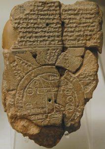 Mapa Mundi Babilônico encontrado por Hormuzd Rassam em Abu Habba (Sippar) - aprox. século VI a.C. - British Museum: BM 92687